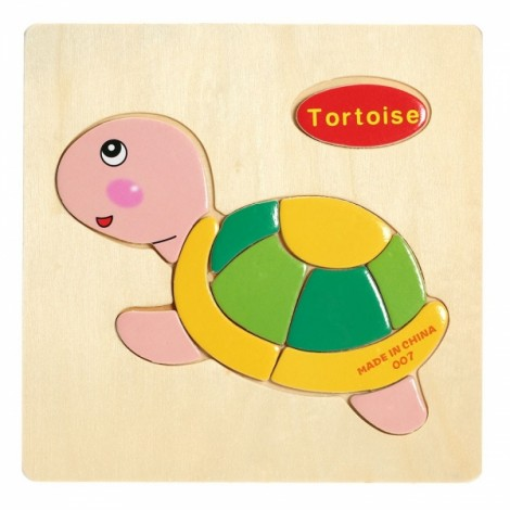 Tortoise Shaped Wooden Puzzle Block Cartoon Educational Toy Multicolor