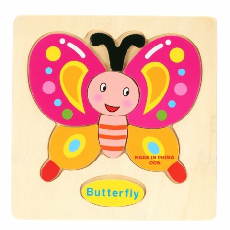 Butterfly Shaped Wooden Puzzle Block Cartoon Educational Toy Multicolor