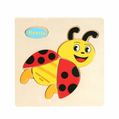 Beetle Shaped Wooden Puzzle Block Cartoon Educational Toy Multicolor