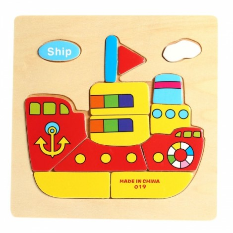 Ship Shaped Wooden Puzzle Block Cartoon Educational Toy Multicolor