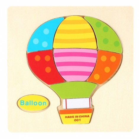 Balloon Shaped Wooden Puzzle Block Cartoon Educational Toy Multicolor