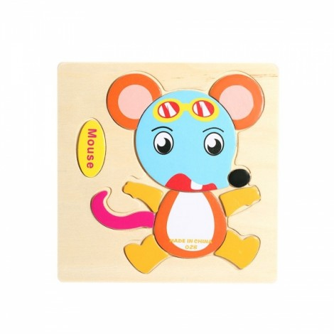 Mouse Shaped Wooden Puzzle Block Cartoon Educational Toy Multicolor