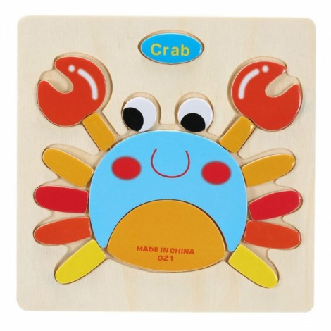 Crab Shaped Wooden Puzzle Block Cartoon Educational Toy Multicolor