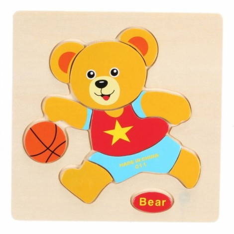 Bear Shaped Wooden Puzzle Block Cartoon Educational Toy Multicolor
