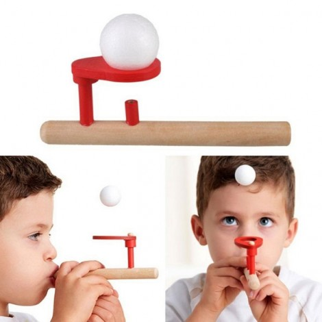 Funny Wooden Blowing Floating Ball Game Flute Shape Kid Educational Toy Red & Burlywood