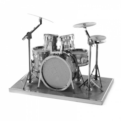 Drum Set Style 3D Metallic Puzzle Educational DIY Toy Silver