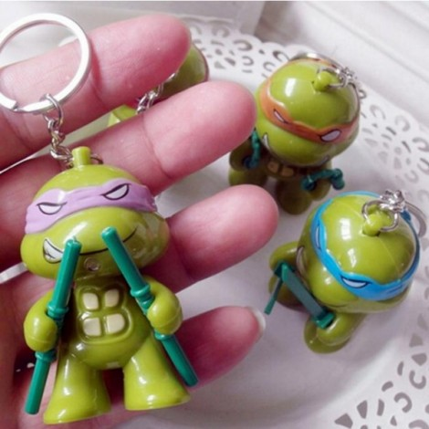 LED Lighting Sound Cartoon Turtle Key Chain Purple Donatello