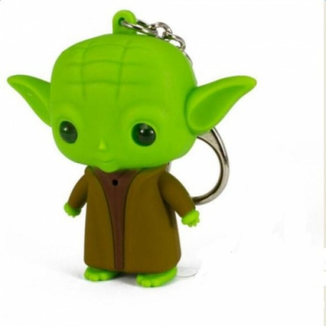 Cute Key Ring Pendant Decoration Key Chain with Light / Sound Effect Green & Brown