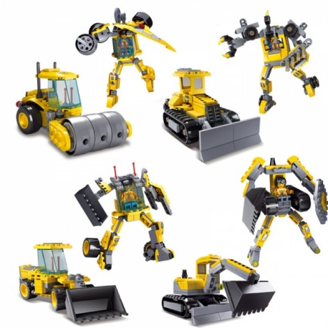 4 Sets Kids Toys Excavator Giant Shovel Bulldozer Clay Mill Deformation Robot DIY Building Blocks Educational Gift