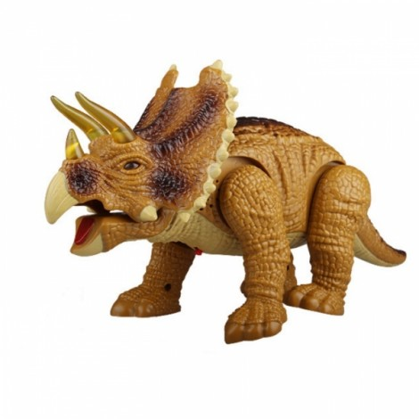 Walking Triceratops Dinosaur Figure Toy with Realistic Sound Khaki