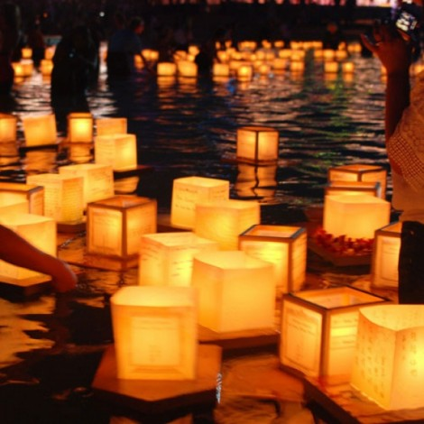 10pcs Wrapped Square Paper Water Lanterns Chinese Paper Lanterns Floating Light with Card