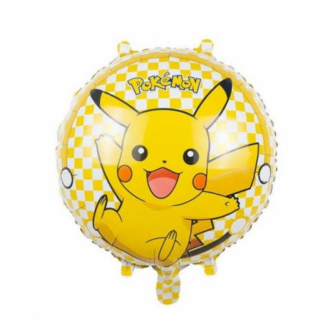 Pokemon Balloon Kid Gift Party Animal Foil Balloon Round Pikachu Pattern