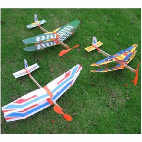 3pcs Glider Rubber Band Elastic Powered Flying Plane Airplane Fun Model Kids Toy Random Color