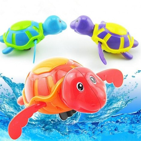 Child Kid Bath Swimming Pool Toy Plastic Clockwork Wind Up Swimming Floating Turtle Purple & Yellow