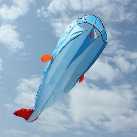 Outdoor Entertainment 3D Huge Parafoil Giant Dolphin Kite 2.1m Blue