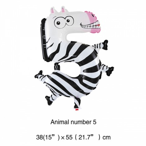 16 inch Animal Number Aluminum Foil Balloon Birthday Party Decoration Balloon Number 5