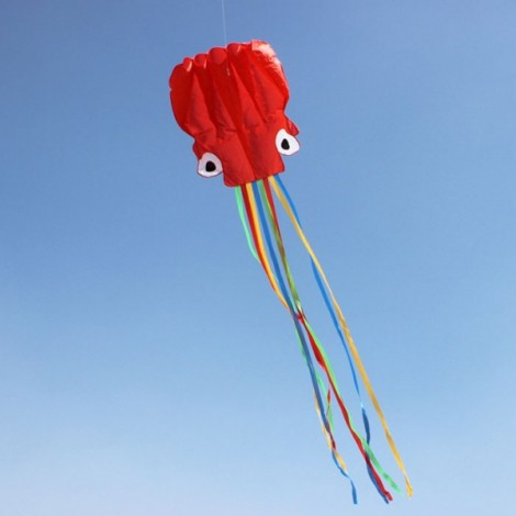 4m Octopus Soft Flying Kite with 200m Line Kite Reel Red Head + Colorful Tail