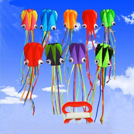 4m Octopus Soft Flying Kite with 200m Line Kite Reel Yellow Black Head + Colorful Tail