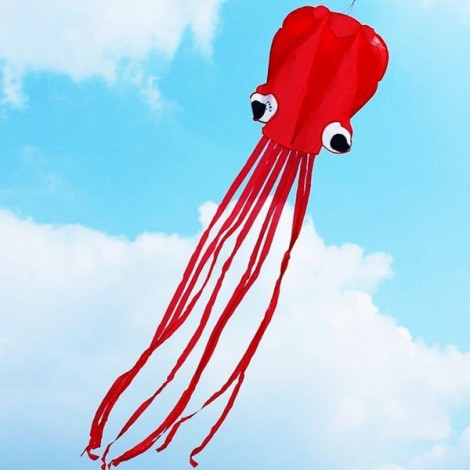 4m Octopus Soft Flying Kite with 200m Line Kite Reel Red