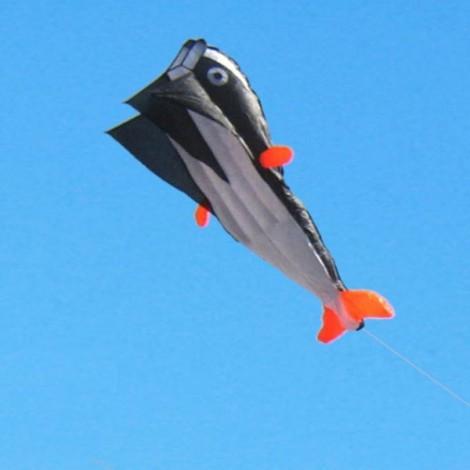 Outdoor Entertainment 3D Huge Parafoil Giant Dolphin Kite 2.1m Black