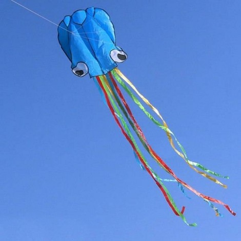 4m Octopus Soft Flying Kite with 200m Line Kite Reel Blue Head + Colorful Tail