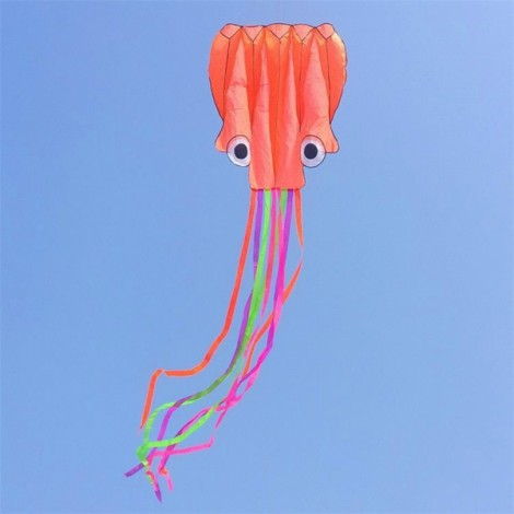4m Octopus Soft Flying Kite with 200m Line Kite Reel Orange Head + Colorful Tail