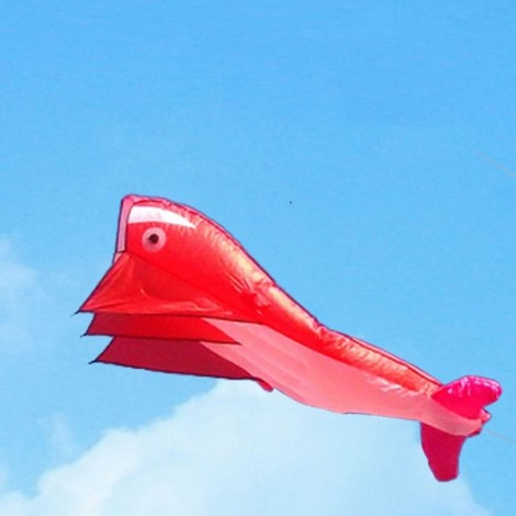 Outdoor Entertainment 3D Huge Parafoil Giant Dolphin Kite 2.1m Red