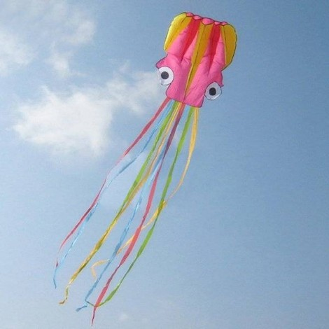 4m Octopus Soft Flying Kite with 200m Line Kite Reel Pink Yellow Head + Colorful Tail