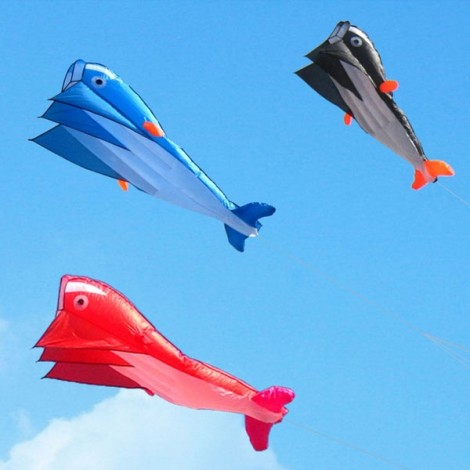 Outdoor Entertainment 3D Huge Parafoil Giant Dolphin Kite 2.1m Orange