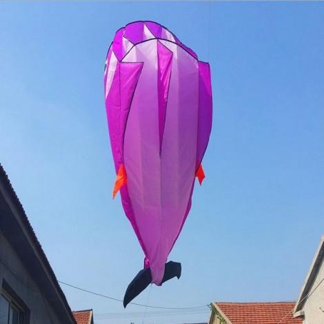 Outdoor Entertainment 3D Huge Parafoil Giant Dolphin Kite 2.1m Purple