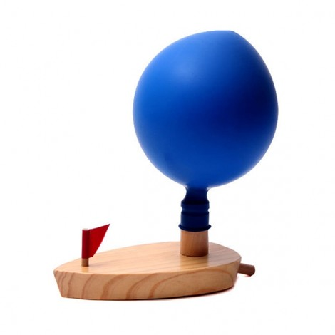 Kids Bath Balloon Powered Boat Children Learning Wooden Toy Classic Bathroom Gift