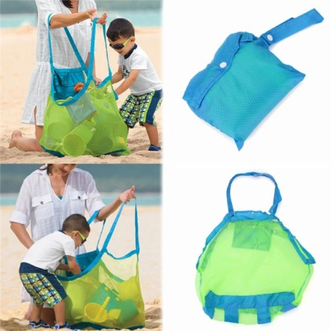 Toy Tool Clothes Storage Collection Pouch Tote Mom Baby Kids Indoor Outdoor Beach Mesh Bag Green Mesh