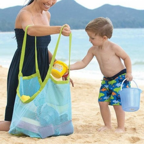 Toy Tool Clothes Storage Collection Pouch Tote Mom Baby Kids Indoor Outdoor Beach Mesh Bag Blue Mesh