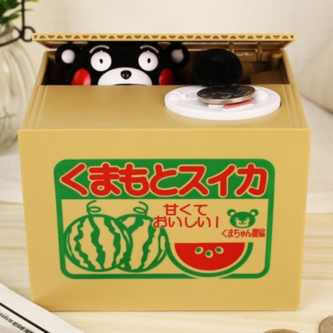 Cute Cat Automated Steal Stealing Money Saving Box Bank Kumamon Style