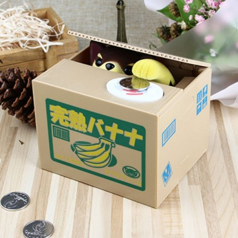 Electric Voice Coin Piggy Bank Saving Money Box Novelty Toy Banana Pattern