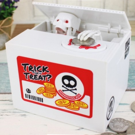 Automated Skull Heads Coin Piggy Bank Saving Money Box Novelty Toys White