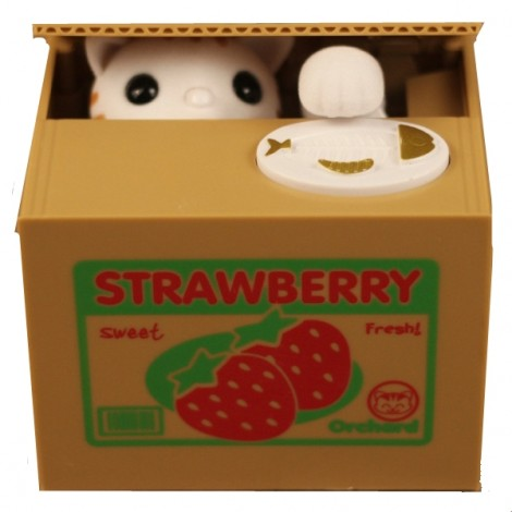 Cute Cat Automated Steal Stealing Money Saving Box Bank Strawberry Cat Style