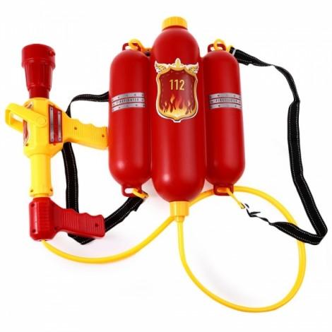 Kids Fire Backpack Pressure Squirt Pool Summer Beach Gaming Water Gun Color Random