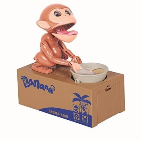 Monkey Stealing Coin Money Piggy Bank Cool Gadgets Gift Brown