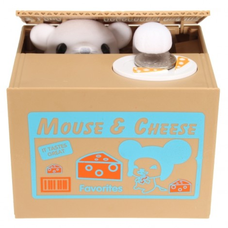 Cute Creative Piggy Bank Mouse Steal Money Coins Saving Box Not Pure Color