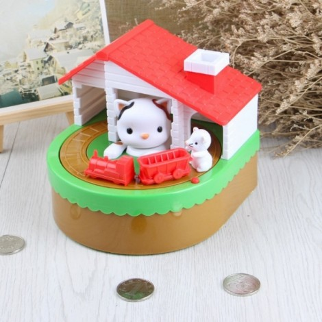 Cute Kitty Cat Mouse Itazura Coin Money Box White Cat Multicolor