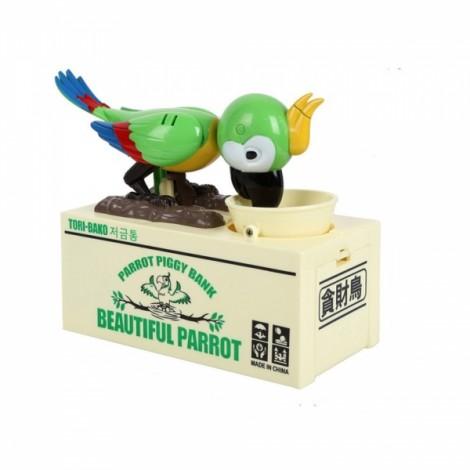 Creative Parrot Steal Money Piggy Bank Coin Organizer Box Green