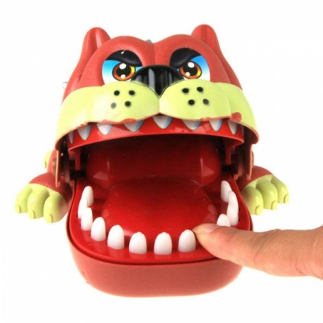 Funny Big Mouth ShaPi Dog Push Teeth Bite Finger Game Toy for Kids Red