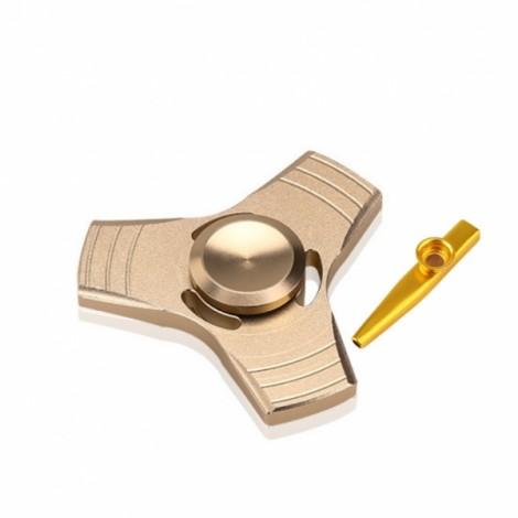 EDC Tri-Spinner Fidget Pattern Hand Spinner & Metal Kazoo Flute Diaphragm Mouth Flute Harmonica Golden