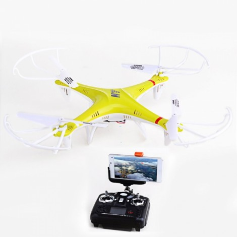 HT F801 Headless Mode Wi-Fi 6-Axis Gyro 4CH 2.4GHz Stunt Flying Mini Aircraft RC Quadcopter with 1.3MP Camera/LED (Mode 2/Left Hand Throttle) Yellow