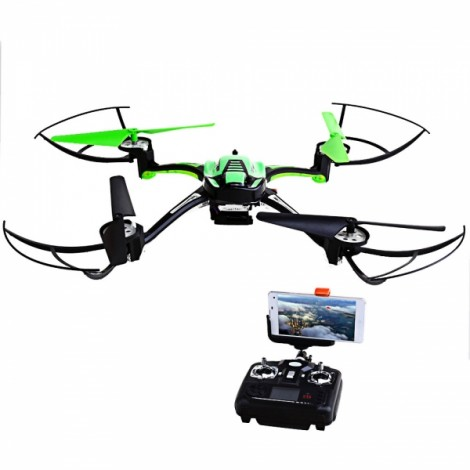 HT F802 Headless Mode Wi-Fi 6-Axis Gyro 4CH Real Time Image Transmission Remote Control Quadcopter with 0.4MP Camera (Mode 2/Left Hand Throttle) Green & Black