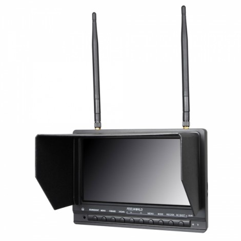 """FeelWorld FPV733 7"""" HD 1000cd/m2 FPV Monitor with Integrated 32CH 5.8G Dual Receivers Black"""