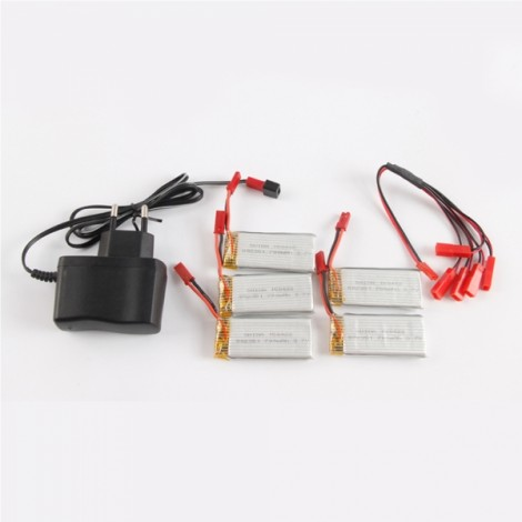 JXD JD509G 509G JD509W 509W RC Quadcopter Drone Spare Parts 700mAh 3.7V Lipo Battery + 1 to 5 Charging Cable + Adapter