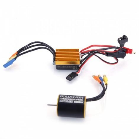 BoldClash 2430 5800KV 4 Poles Sensorless Brushless Motor + 25A Brushless ESC for 1/18 1/20 RC Car