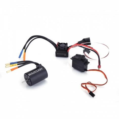 BoldClash BL 3650 5200kv 4 Poles Waterproof Sensorless Brushless Motor + 60A ESC + 6kg Servo for 1/10 RC Car